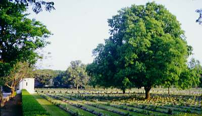 Kanchanaburi War Cemetery (about 1.5 km from the centre of town on Saengchuto Road)